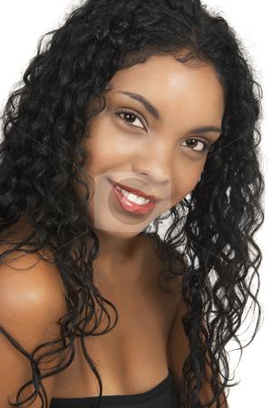 Beautiful brunette woman stock photo, Beautiful brunette woman on white ...