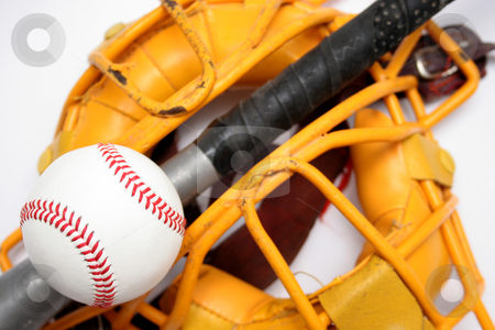 Baseball stock photo, a catcher mask, bat and baseball by vladacanon1