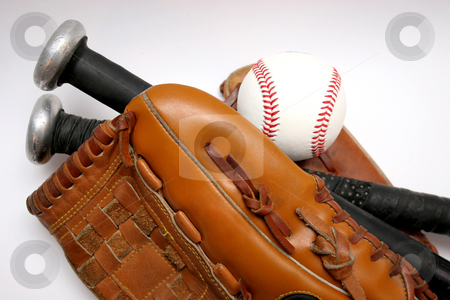 Baseball stock photo, Baseball, Glove and Bat by vladacanon1