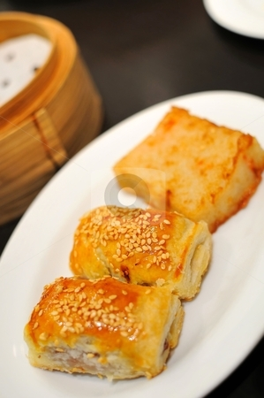 Traditional Chinese high tea stock photo, Delicious meat pastry from Chinese style high tea. by Wai Chung Tang