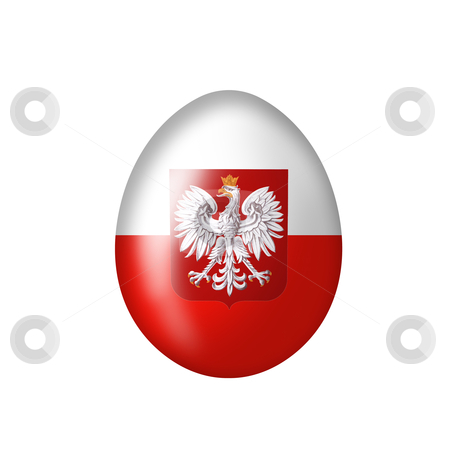 Egg with Polish eagle emblem stock photo, Easteregg with a Poland flag on a white background by Viktor Thaut