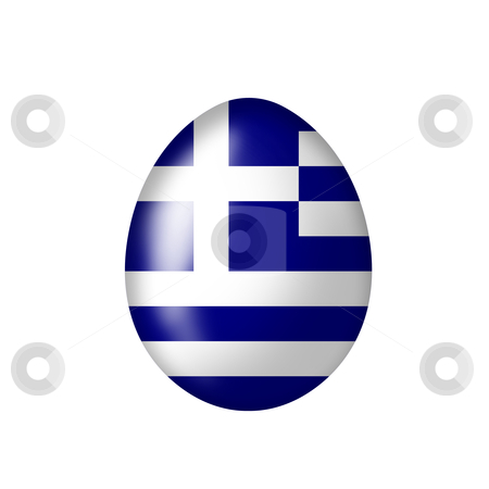 Greek egg stock photo, Easteregg with a greek flag on a white background by Viktor Thaut