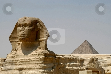 Sphinx and Chefren pyramid stock photo, Sphinx and Chefren pyramid, Cairo, Egypt by Albo