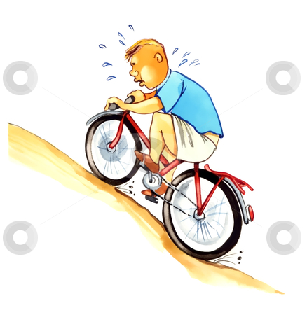 Overweight boy on bicycle stock photo, illustration of overweight boy on bicycle by Igor Zakowski