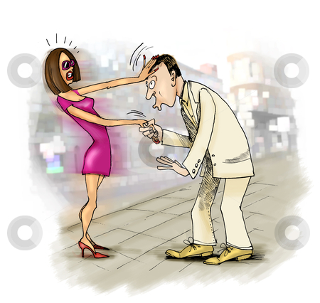 Kiss on a hand problem stock photo, humorous illustration of man trying to kiss woman on a hand by Igor Zakowski