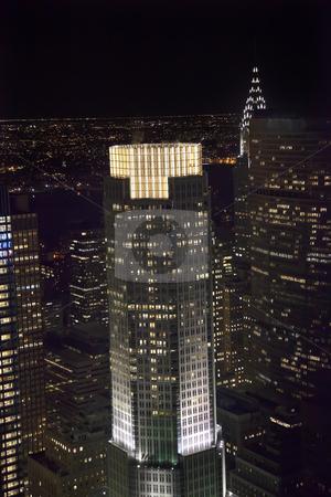 New York City Skyline East River Chrysler Building Night stock photo, New York City Skyline Chrysler Building Night United Nations by William Perry