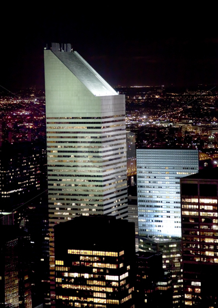 Citicorp Building Skyscraper New York City Night stock photo, Citicorp Skyscraper Night New York City by William Perry