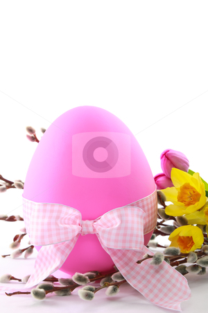 Pink Easter Egg with Spring Flowers stock photo, Celebrate Easter with this large pink egg decorated with spring flowers and a checkered bow - ample copy space  is available by Karen Sarraga