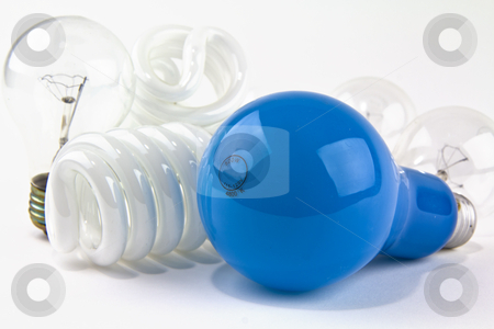Powerful Blue Bulb  stock photo, 500 Watt bulb among older and modern bulbs by tab62