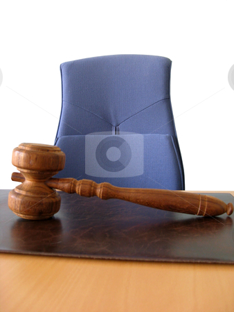 Court&amp;#039;s room stock photo, Old wooden gavel ,blue chair and court desk  by Ingvar Bjork
