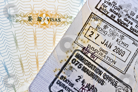 Background of passport stamps closeup  stock photo, Background of passport stamps closeup 