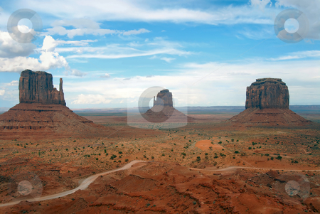 Monument Valley stock photo, West and East Mittens and Merrick Butte view from the visitor center, Monument Valley, Arizona by Albo