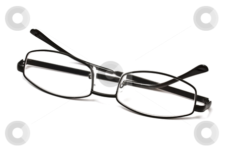 Black reading glasses  stock photo, Black reading glasses isolated on white background   by Ingvar Bjork
