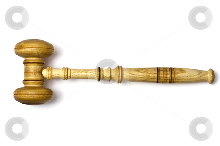 Gavel closeup stock photo, A gavel isolated on white background   by Ingvar Bjork
