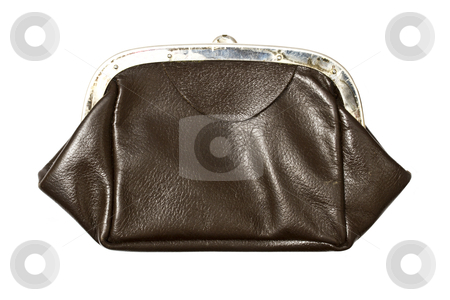 Old purse closeup stock photo, Old purse isolated on white background 