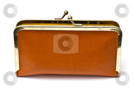 Old purse stock photo, Old purse isolated on white background by Ingvar Bjork