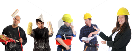 Business team stock photo, businesswoman with successful construction workers on white background by vladacanon1