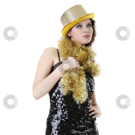 Party Girl stock photo, Young beautiful caucasian woman in black elegant party dress and gold hat by Piotr_Marcinski