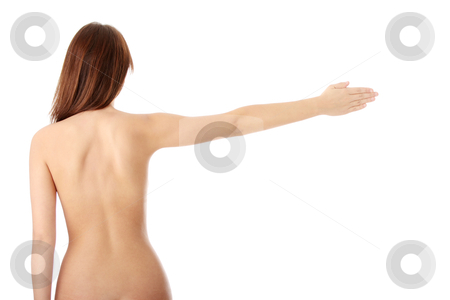 Nude beautiful female body from behind stock photo, Nude beautiful female body from behind, with right arm up, isolated on white background  by Piotr_Marcinski