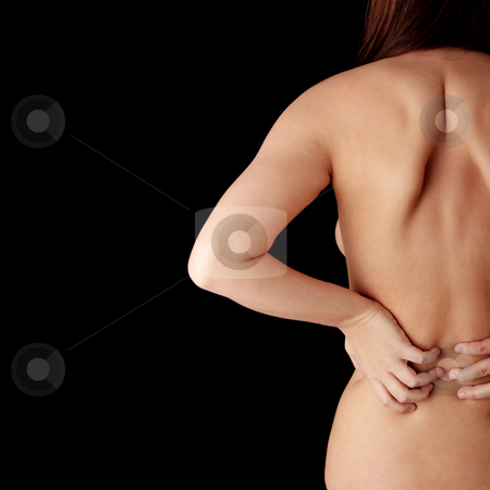Back pain concept stock photo, Nude woman from behind. Back pain concept. Isolated
