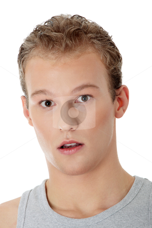 Young surprised man stock photo, Young man with surprise expression on his face  by Piotr_Marcinski