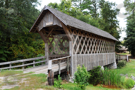 Wood Covered bridge. stock photo, Wood covered bridge in troy,Alabama. by WScott