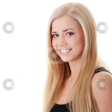 Portrait of young woman stock photo, Portrait of young woman isolated on white background by Piotr_Marcinski