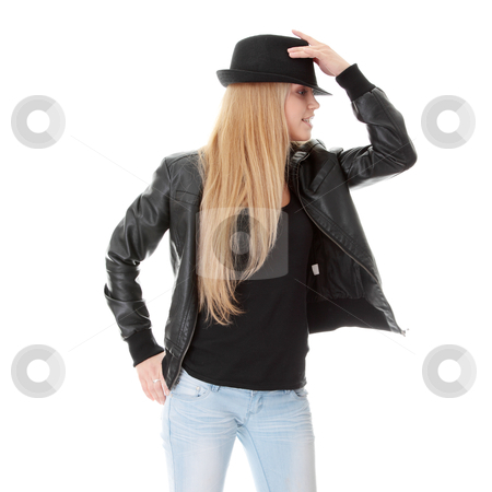 Young female dancer in black hat stock photo, Young female dancer in black hat, isolated on white background by Piotr_Marcinski