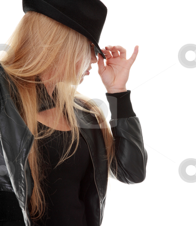 Young dancer in black hat stock photo, Young female dancer in black hat, isolated on white background  by Piotr_Marcinski