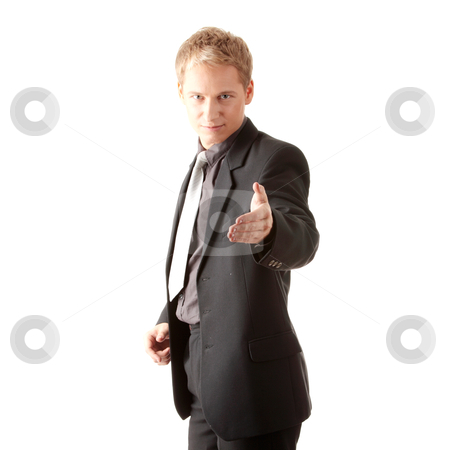 Business man ready to set a deal stock photo, Business man ready to set a deal over white background by Piotr_Marcinski