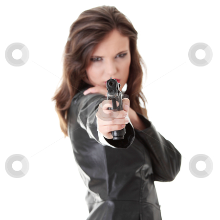 Woman With Handgun stock photo, Woman With Handgun isolated on white background by Piotr_Marcinski