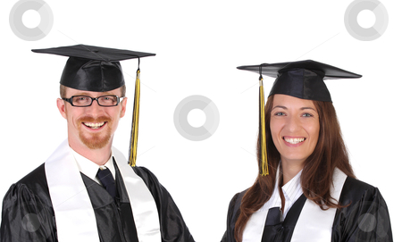 Two successful student in graduation gowns  stock photo, two successful student in graduation gowns on white background by vladacanon1