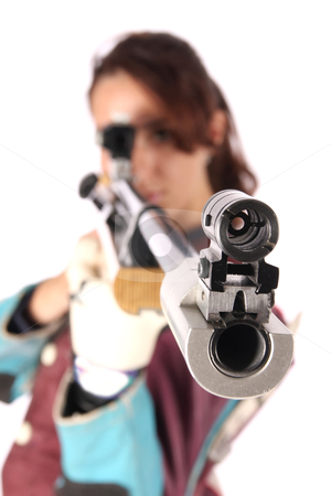 Woman aiming a pneumatic air rifle stock photo, beautiful young woman aiming a pneumatic air rifle by vladacanon1