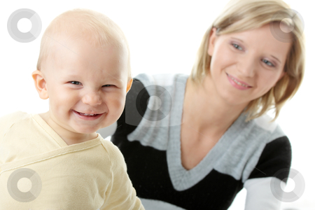 Baby boy and his mom stock photo, Bright closeup portrait of adorable baby boy and his mom   by Piotr_Marcinski