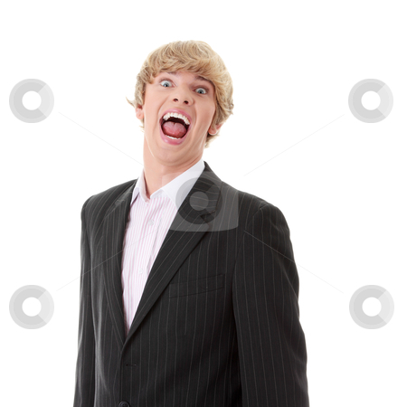 Frustrated young businessman stock photo, Frustrated young businessman, isolated on white background by Piotr_Marcinski