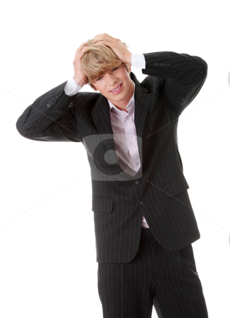 Headache stock photo, Young businessman with headache, isolated on white by Piotr_Marcinski