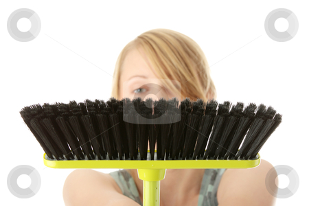 Cute maid woman cleaner stock photo, A cute maid woman cleaner with cleaning supplies and bucket