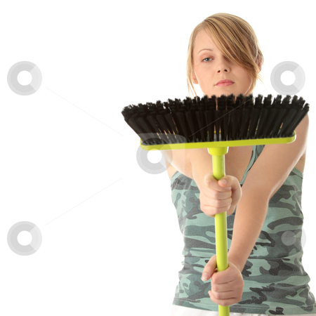Cute maid woman cleaner stock photo, A cute maid woman cleaner with cleaning supplies and bucket  by Piotr_Marcinski