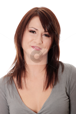 Portrait of an attractive young woman stock photo, Portrait of an attractive young woman isolated on white background  by Piotr_Marcinski