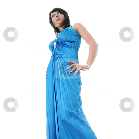 Woman wearing long elegant dress stock photo, Attractive young woman wearing long elegant dress.