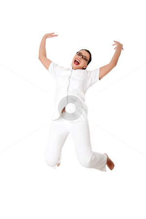 Smiling medical doctor or nurse jumping. stock photo, Smiling medical doctor or nurse. Isolated on white background by Piotr_Marcinski