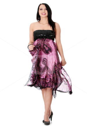 Party girl in evening dress stock photo, Party girl in evening dress, isolated on white  by Piotr_Marcinski
