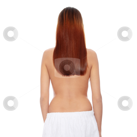 Beautiful young woman back stock photo, Rear view of beautiful young woman with healthy long hairs, isolated on white by Piotr_Marcinski