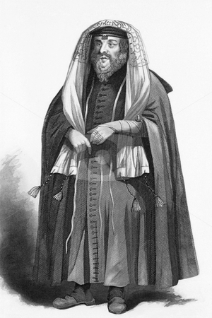 Jewish rabbi dressed for prayers stock photo, Jewish rabbi dressed for prayers on engraving from 1858. Engraved by R.Young and published by A.Fullarton & Co, London & Edinburgh. by Georgios Kollidas