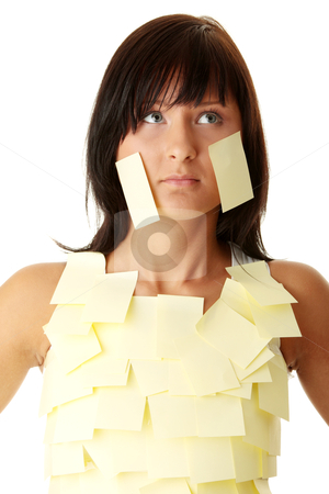 Woman with yellow sticky notes stock photo, Young caucasian busines woman with yellow sticky note on her body by Piotr_Marcinski