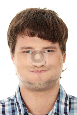 Young man with hiccup stock photo, Young man with hiccup, isolated on white  by Piotr_Marcinski