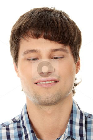 Young man making squint stock photo, Young man making squint, isolated on white