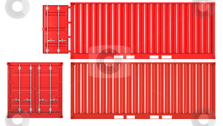 Opened and closed container front and side view stock photo, Opened and closed container isolated on white background, front and side view by Zelfit