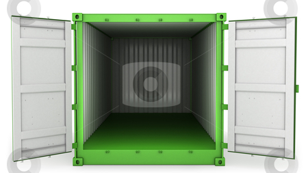 Opened green freight, front view stock photo, Opened green freight container isolated on white background, front view by Zelfit