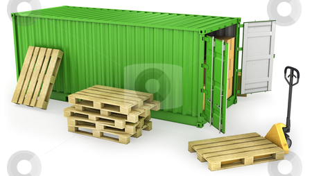 Red opened container and many of carton boxes on a pallet stock photo, Green opened container and stack of wooden pallets, isolated on white background by Zelfit
